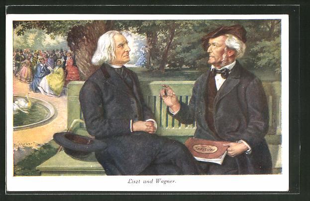Künstler-AK Liszt und Wagner, Portrait der Komponisten