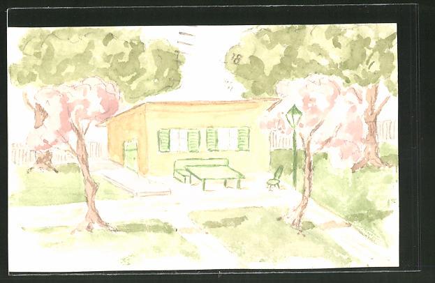 Künstler-AK Handgemalt: Kleines Haus mit Garten
