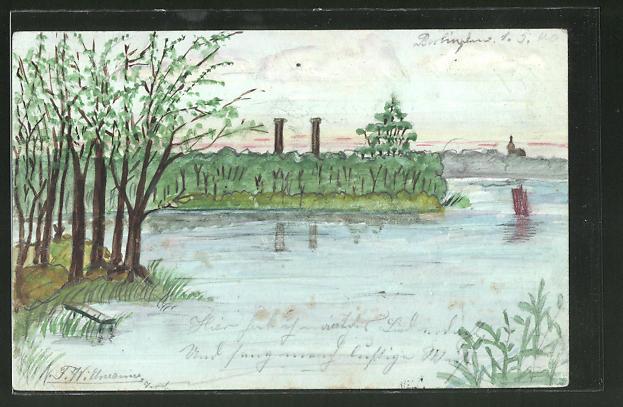 Künstler-AK Handgemalt: Flusslandschaft im Frühling