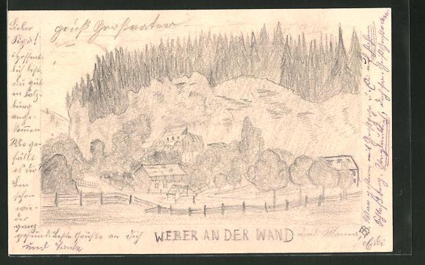 Künstler-AK Handgemalt: Oberaudorf, Partie mit Gasthaus Weber an der Wand, Bleistiftzeichnung
