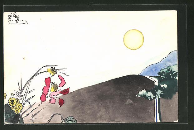 Künstler-AK Handgemalt: Sonne steht über den Bergen, Wasserfall