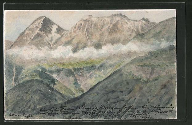 Künstler-AK Handgemalt: Wolken in den Bergen