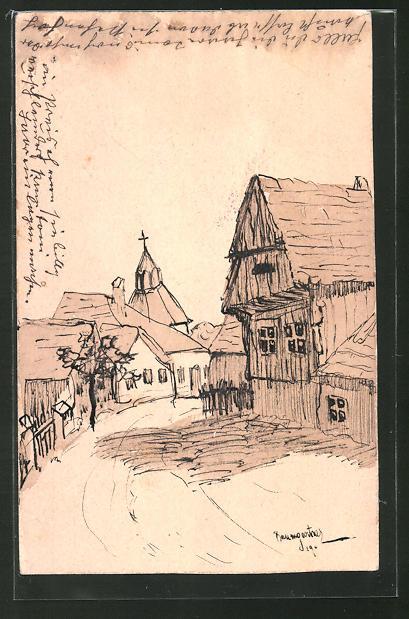 Künstler-AK Handgemalt: Dorfpartie mit Strasse und Kirchturm