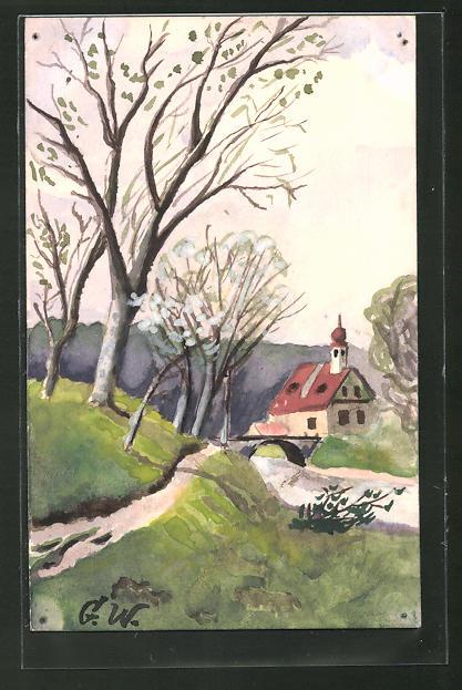 Künstler-AK Handgemalt: Dorfpartie mit Brücke und Kirche