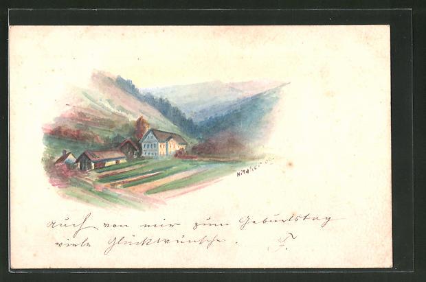Künstler-AK Handgemalt: Kleines Dorf in den Bergen