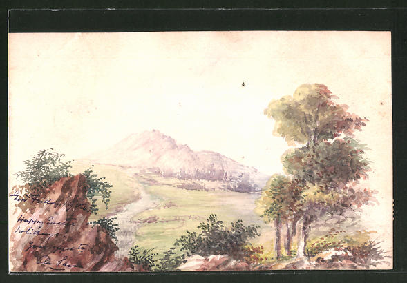Künstler-AK Handgemalt: Flusslandschaft in den Bergen