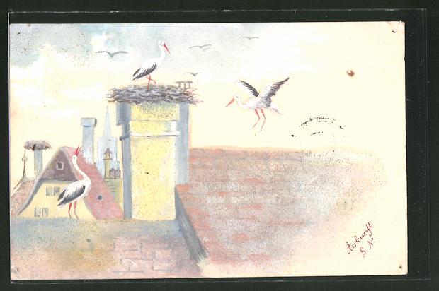 Künstler-AK Handgemalt: Störche an ihrem Nest über den Dächern