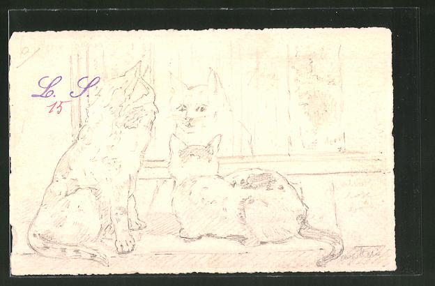 Künstler-AK Handgemalt: Bleistiftskizze zweier Katzen am Fenster