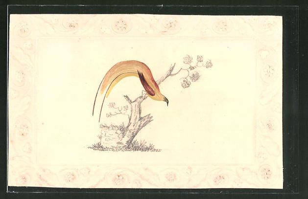 Künstler-AK Handgemalt: Fasan mit langer Schwanzfeder auf einem Baumstumpf