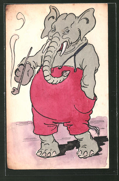 Künstler-AK Handgemalt: Elefant in roter Latzhose raucht Pfeife