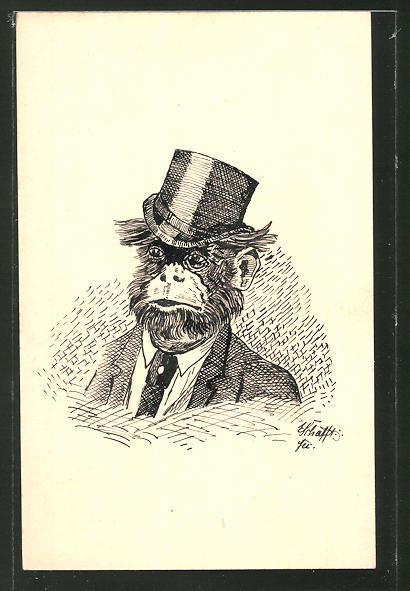 Künstler-AK Handgemalt: Affe im Anzug mit Zylinder, Federzeichnung