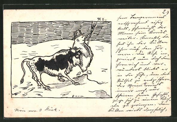 Künstler-AK Handgemalt: Stier nimmt einen Schneemann auf die Hörner