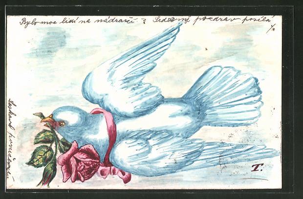 Künstler-AK Handgemalt: Weisse Taube mit roter Rose im Schnabel