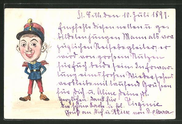 Künstler-AK Karikatur eines französ. Soldaten, handgemalt