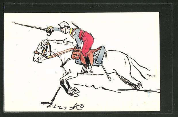 Künstler-AK Französischer Kavallerist reitet eine Attacke