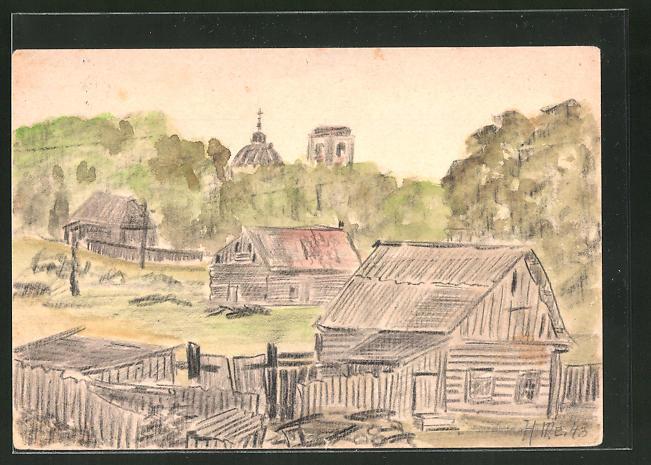 Künstler-AK Blick auf ein russisches Dorf