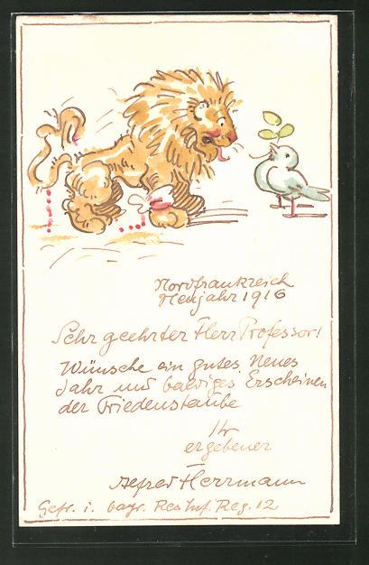 Künstler-AK Handgemalt: Löwe und Vogel, Schützengrabenkunst