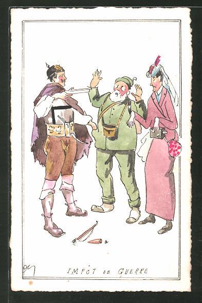 Künstler-AK Handgemalt: Impot de Guerre, Soldat mit Waffe, Mann und Frau, Schützengrabenkunst