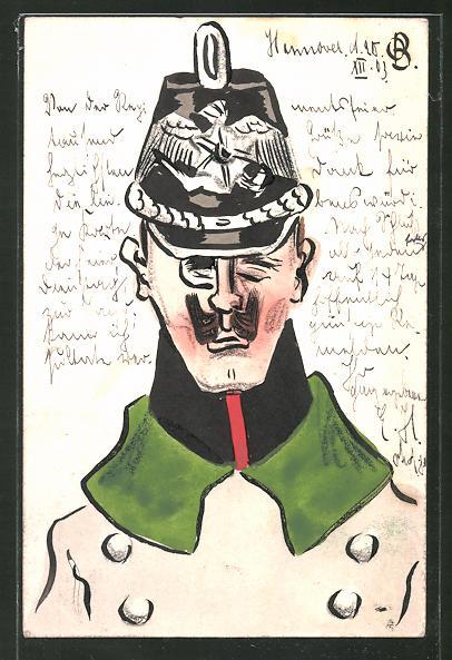 Künstler-AK Handgemalt: Soldat mit Tschako, Schützengrabenkunst
