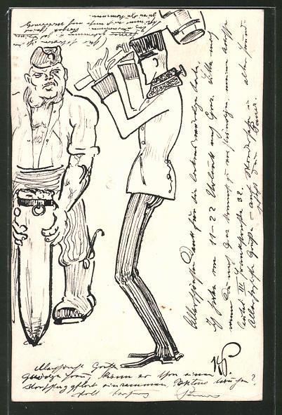 Künstler-AK Handgemalt: Soldat mit Hammer und Mann mit Pfahl, Schützengrabenkunst