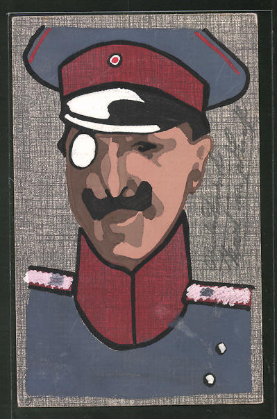 Künstler-AK Handgemalt: Soldat mit Monokel, Schützengrabenkunst