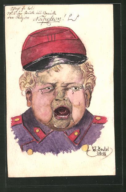 Künstler-AK Handgemalt: weinender, junger Soldat, Schützengrabenkunst