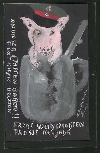 Künstler-AK Handgemalt: Schwein mit Schirmmütze und Monokel, Schützengrabenkunst