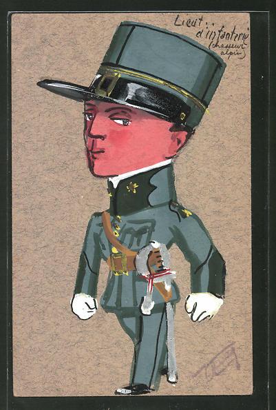Künstler-AK Lieut. d'Infanterie, Soldat in Uniform mit Degen