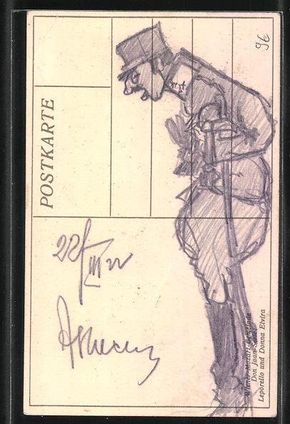 Künstler-AK Soldaten in Uniform mit Degen als Karikatur