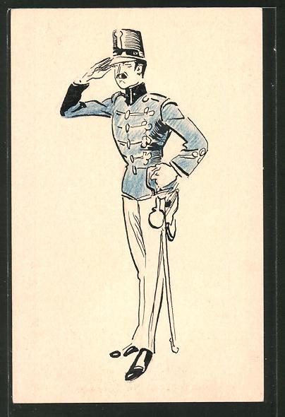 Künstler-AK Österreichischer Soldat beim Salutieren