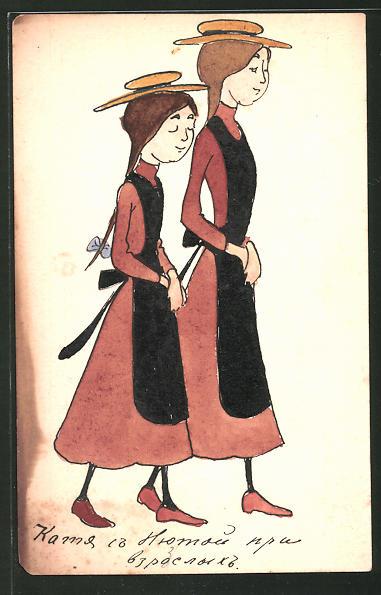 Künstler-AK Handgemalt: Zwei Mädchen mit langen Zöpfen und Hut