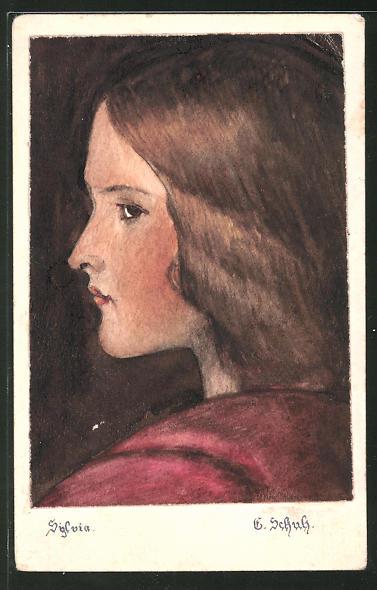 Künstler-AK Handgemalt: Kopfporträt eines Mädchens im Profil