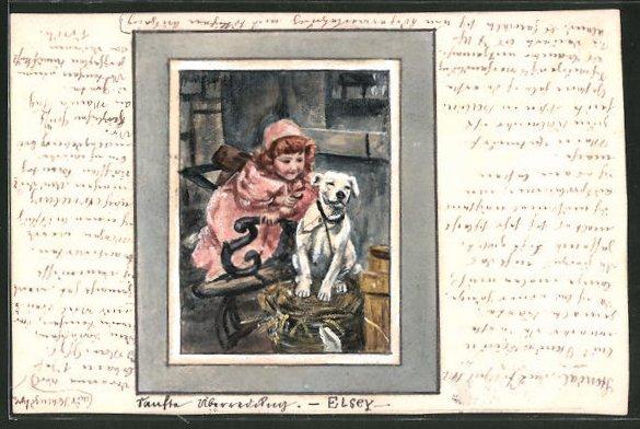 Künstler-AK Handgemalt: kleines Mädchen mit Hund, Kinder