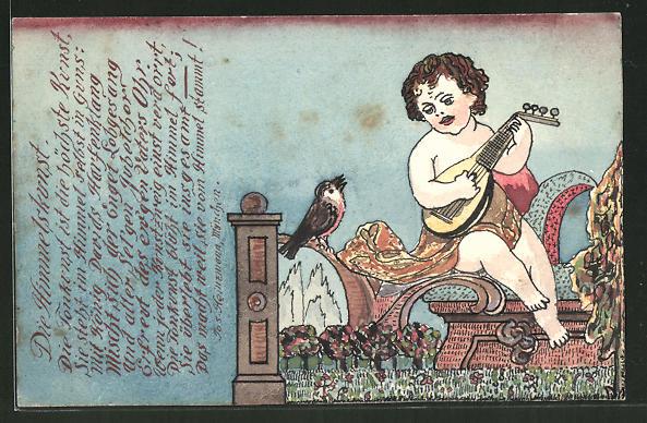 Künstler-AK Handgemalt: Kind mit einer Laute und Vogel, Kinder