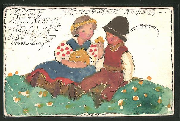 Künstler-AK Handgemalt: Mädchen im Kleid und Junge mit Hut, Kinder