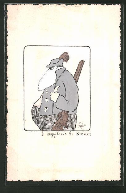 Künstler-AK Handgemalt: Jäger mit Bart und Gewehr