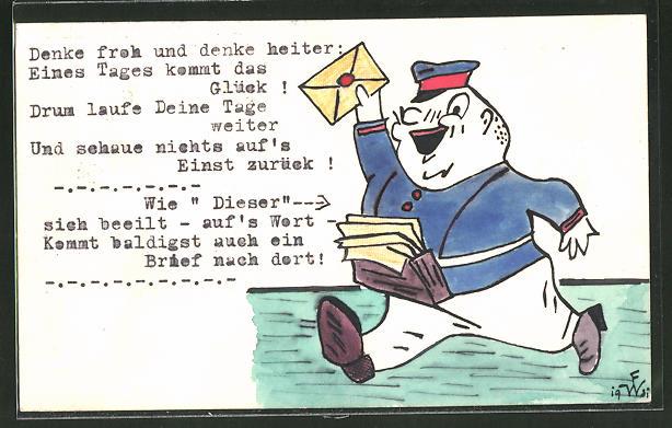 Künstler-AK Handgemalt: Briefträger stellt die Post zu