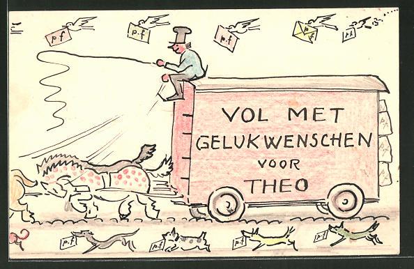 Künstler-AK Handgemalt: Postkutsche