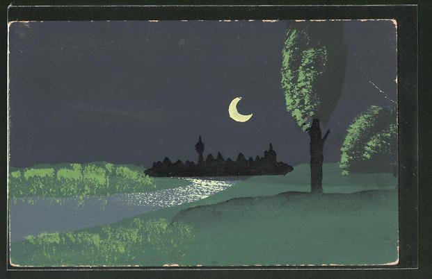 Künstler-AK Handgemalt: Totalansicht bei Nacht, Schablonenmalerei
