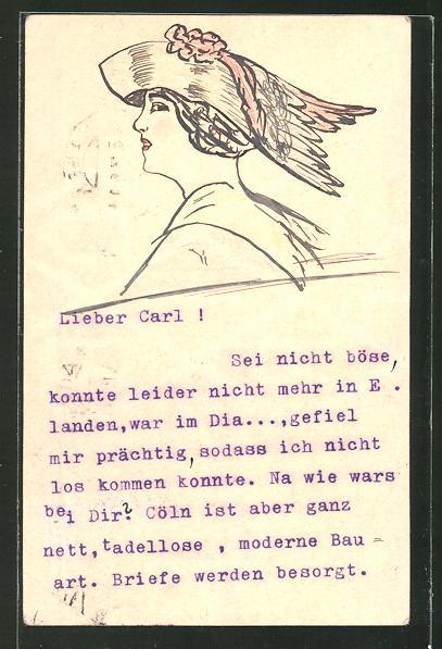Künstler-AK Handgemalt: Dame mit Hut im Profil, Jugendstil
