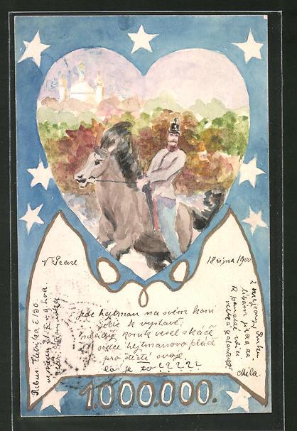 Künstler-AK Handgemalt: Soldat auf einem Pferd, Jugendstil