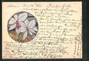 Künstler-AK Handgemalt: Blüten im runden Rahmen, Jugendstil