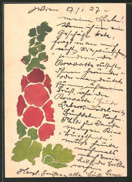 Künstler-AK Handgemalt: Blumenornament mit roten Blüten, Jugendstil