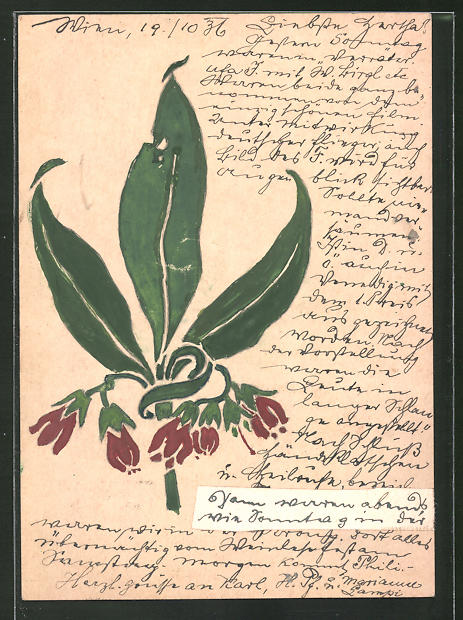 Künstler-AK Handgemalt: Rote Doldenblüte, Jugendstil