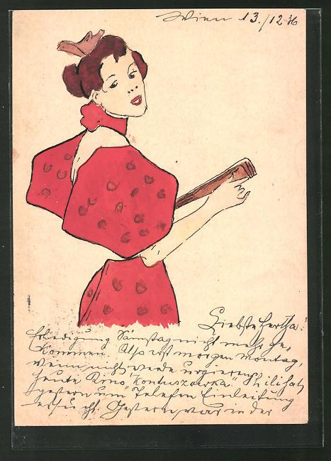 Künstler-AK Handgemalt: Frau in rotem Kleid mit Fächer, Jugendstil