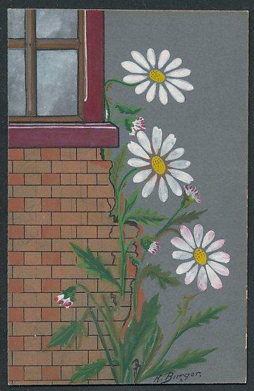 Künstler-AK E. Reckziegel: Blühende Margeriten an einer Hausecke