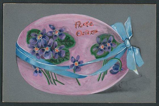 Künstler-AK E. Reckziegel: Frohe Ostern, Osterei mit blauer Schleife und Veilchen