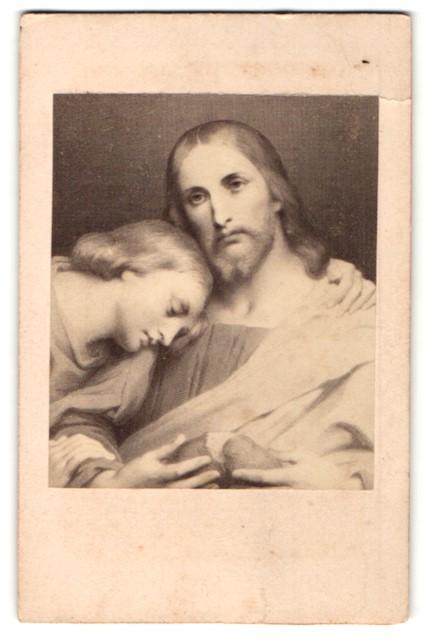 Fotografie A. W. Schulgen, Paris, Gemälde von unbek. Künstler, Christus bricht sein Brot