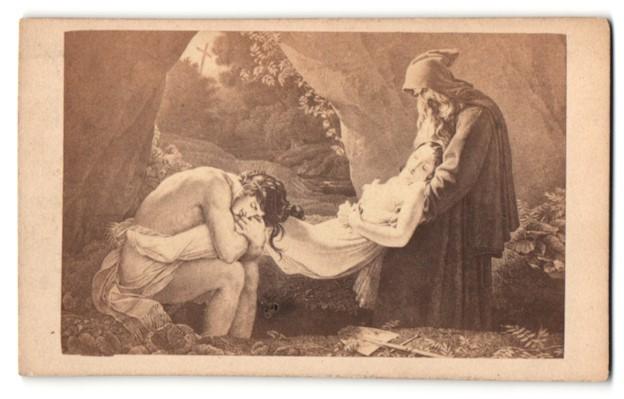 Fotografie Bulla Frères, Paris, Gemälde von unbek. Künstler, Grablegung einer Verstorbenen