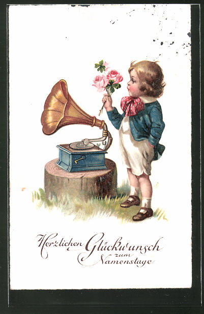 AK Glückwunsch zum Namenstage, Gratulant am Grammophon